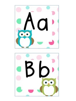 Word Wall Letters and Alphabet Heading Owl Theme