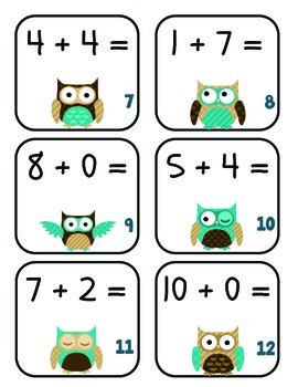 Owl Themed Addition Task Cards