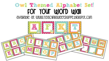 Owl Themed Alphabet Set For Your Word Wall
