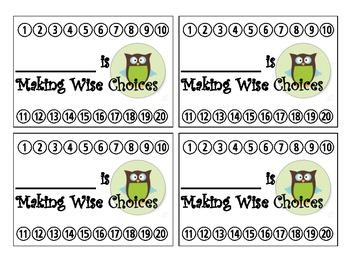 Owl Themed Behavior Reward Punch Cards