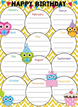 Owl Themed Birthday Poster