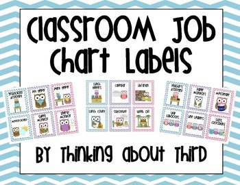Owl Themed Classroom Job Chart Labels