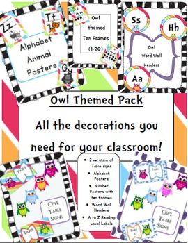 Owl Themed Classroom Pack