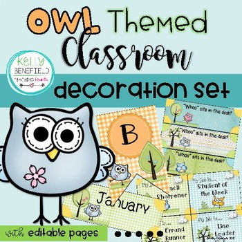 Owl Themed Classroom Decor Set
