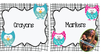 Black and White Owl Themed Classroom Supply Labels and Tab