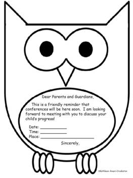 Owl Themed Conference Reminder Sheet