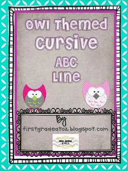 Owl Themed Cursive ABC