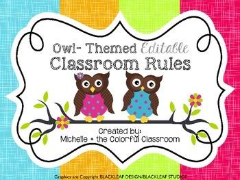 Owl Themed {Editable} Classroom Rule Template