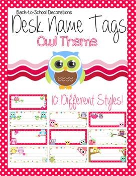 Owl Themed Editable Name Tags