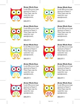 Owl Themed Homewor Pass