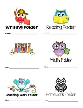 Owl Themed Labels Writing Reading Math Morning Work Homewo