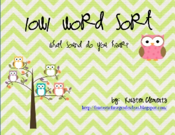 Owl Themed Long O Word Sort {o spelled OW}