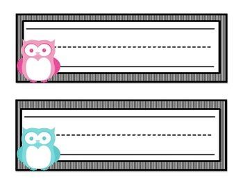 Owl Themed Name Tags (Multi-Colored/Black Stripe)