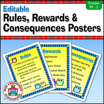 Owl-Themed Rules, Rewards, and Consequences Posters