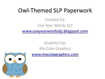 Owl-Themed SLP Paperwork