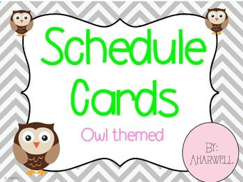 Owl Themed Schedule Cards