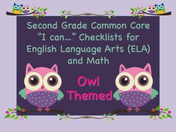 Owl Themed Second Grade Common Core Checklist English Lang
