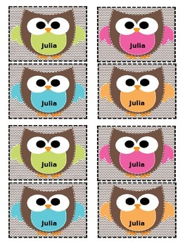 Owl Themed Student Name Labels