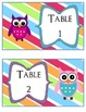 Owl Themed Table Signs