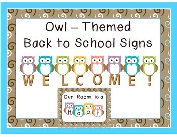 Owl Themed WELCOME signs