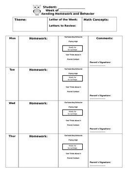 Owl Themed Weekly Homework and Behavior Sheet
