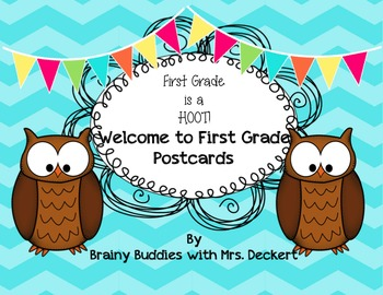 Owl Themed Welcome to First Grade Postcard