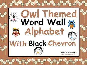 Owl Themed Word Wall Alphabet with Black Chevron: