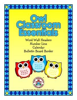 Owl Classroom Essentials: Word Wall Headers, Number Line,