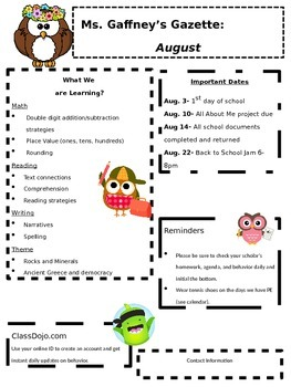 Owl Themed monthly Classroom Newsletters, editable