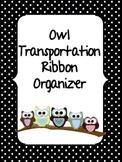 Owl Transportation Ribbon Organizer BLACK AND WHITE