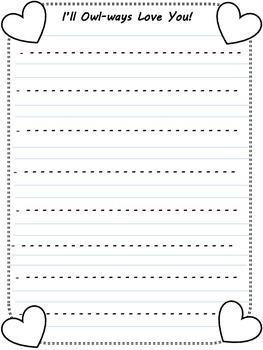 Owl Valentine Writing Printable