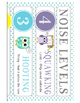 Owl Voice/Noise Levels - White & Turquoise Polka Dot