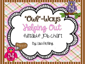 Owl-Ways Helping Out: Editable Owl Job Chart