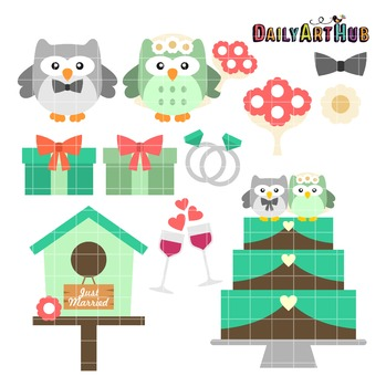 Owl Wedding Clip Art - Great for Art Class Projects!