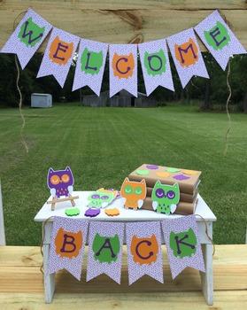 Owl Welcome Back Banner & Die Cuts.  Orange-Purple-Green.