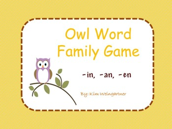 Owl Word Family Game