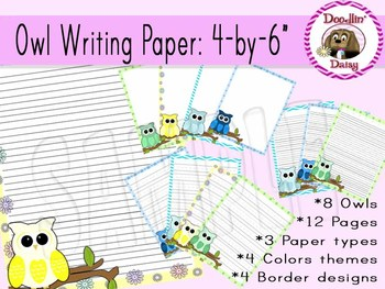 Owl Writing Paper: 3 Styles (4 by 6)