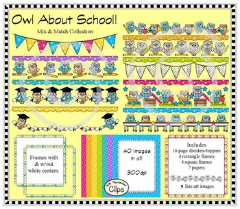 """Owl"" about School Collection (page dividers and toppers,"