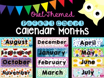 Owl and Chevron Calendar Months