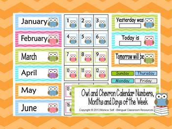 Owl and Chevron Calendar Numbers, Months and Days of the Week