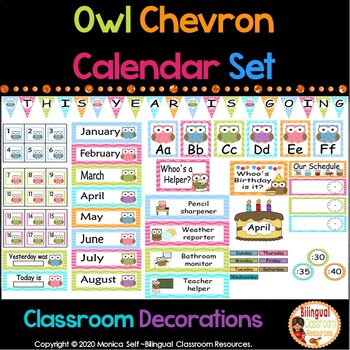 Owl and Chevron Calendar Set and Classroom Decorations