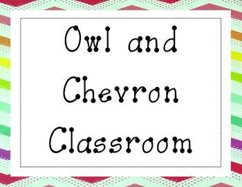 Owl and Chevron Classroom Starter Pack