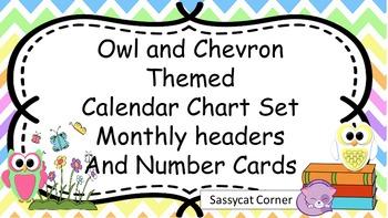 Owl and Chevron Themed Calendar Bulletin Board Set for Cla
