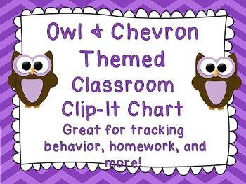 Owl and Chevron Themed Clip Chart - Editable Classroom Decor