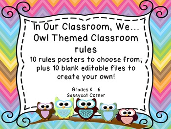 Owl and Chevron Themed Rule Posters for Back to School - C