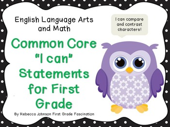 "Owl and Polka Dot Common Core ""I can"" Statements for First Grade"