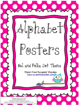 Owl and Polka Dot Themed Alphabet Posters