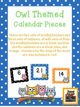 Owl and Polka Dot Themed Calendar Pieces w/Days of the Week!
