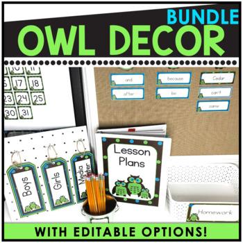 Editable Owl Theme Decor