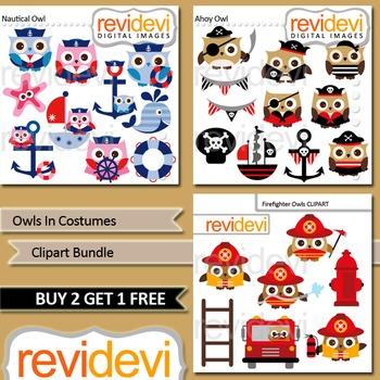 Owl clip art bundle (3 packs) pirate, nautical, firefighte